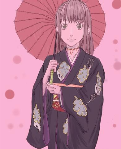 Tsumiki in kimono and kasa CG