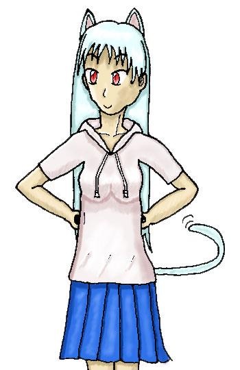 パーカーの白羽猫  CG