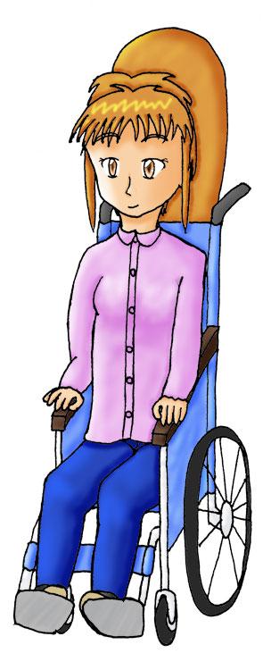 車椅子の愛菜美  CG