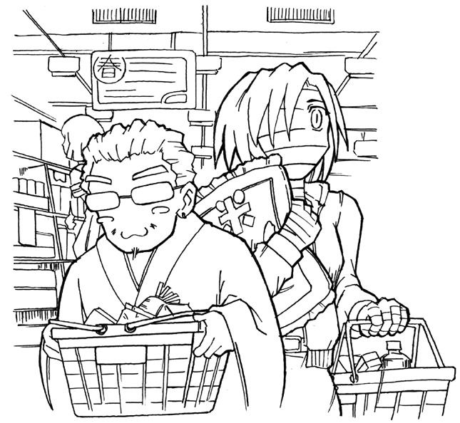 スーパーで買い物(J)  CG