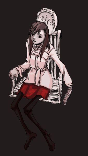 樫屋サトミと骨の椅子ラフ  CG