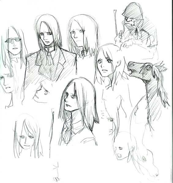 断血鬼と従者と吸血馬のラフ  CG