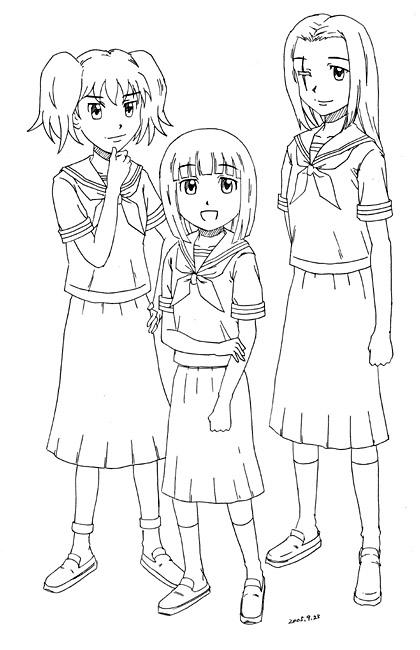 セーラー服三人  CG