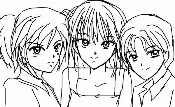 三つ子プリクラ撮影 CG