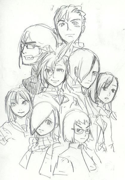 護牢、青九郎、黒、雹、ルド、サトミ、とどめ、ひとめ、一文字ラフ  CG