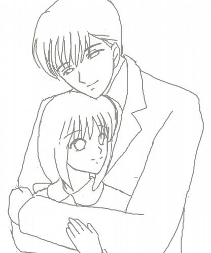 本宮夫妻、抱きしめる CG