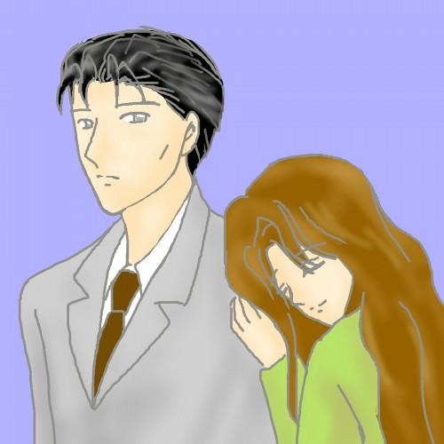 東夫妻、肩にもたれる、色つき  CG