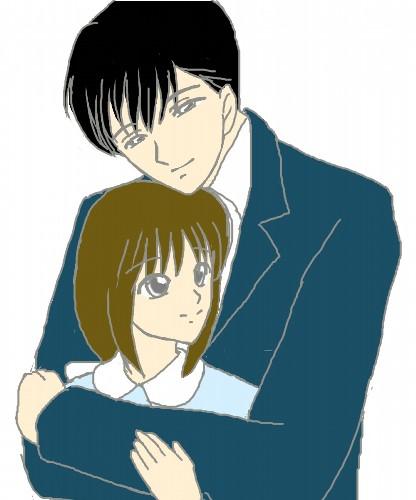 本宮夫妻、抱きしめる 色つき  CG