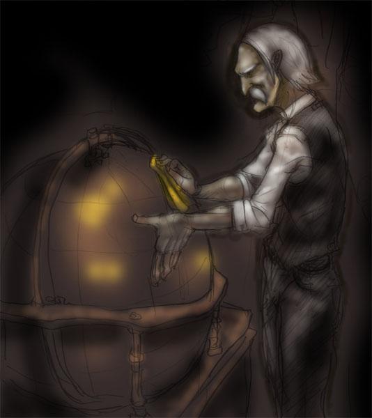 天球儀と老人  CG