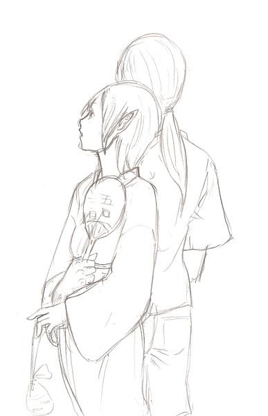サリーと青九郎ラフ  CG