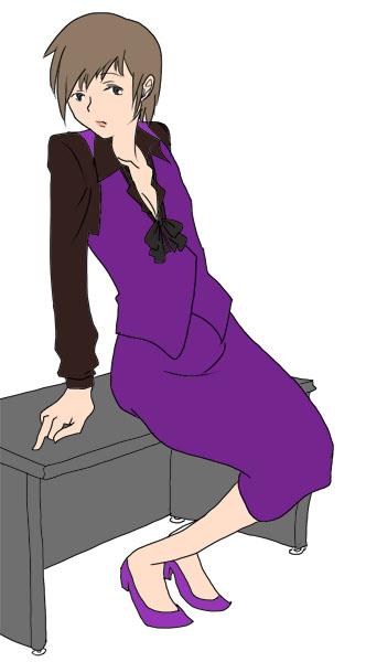 やめてください、こんなところで 彩色紫  CG