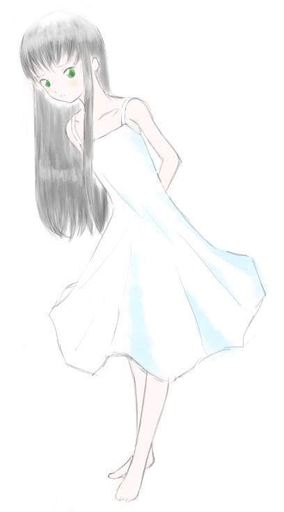 サマードレスな空音さんラフ  CG