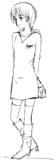 パーカーの裾長め  CG