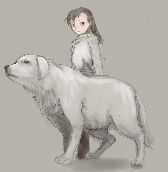 サトミ白犬ツーショット  CG