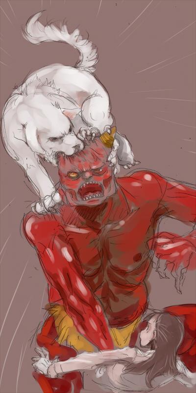 サトミを助けに野性を見せる白犬  CG