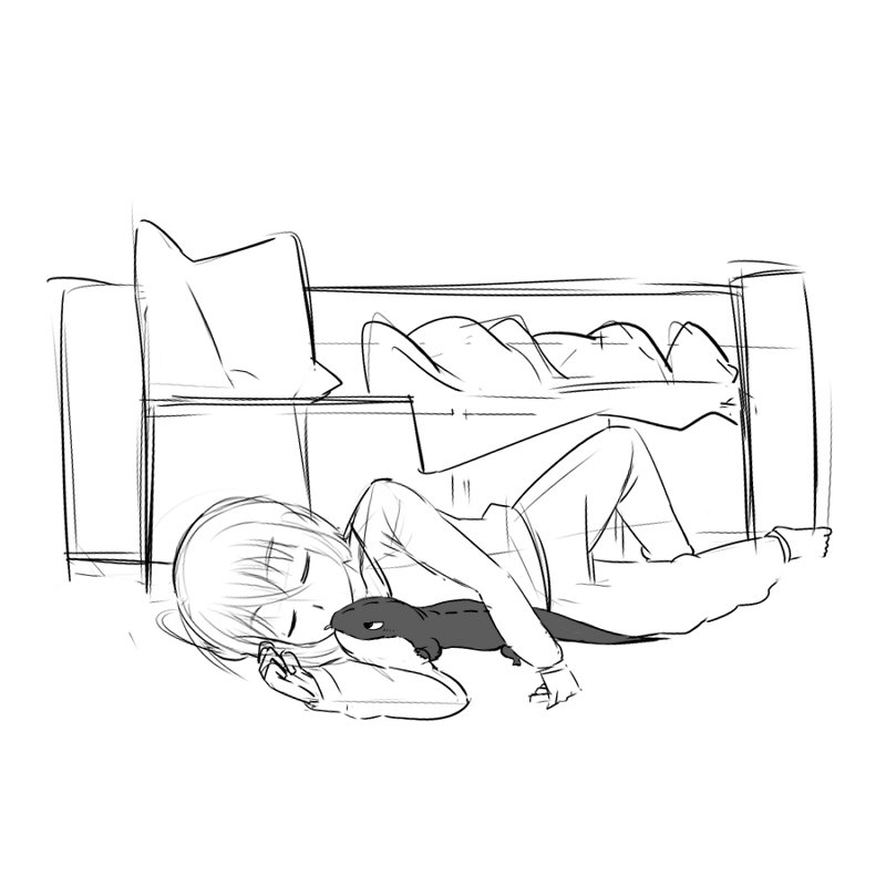 添い寝 CG