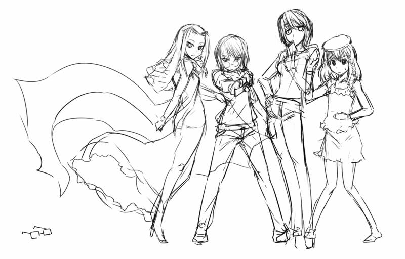 近衛とローザと歩とニーナと眼鏡  CG