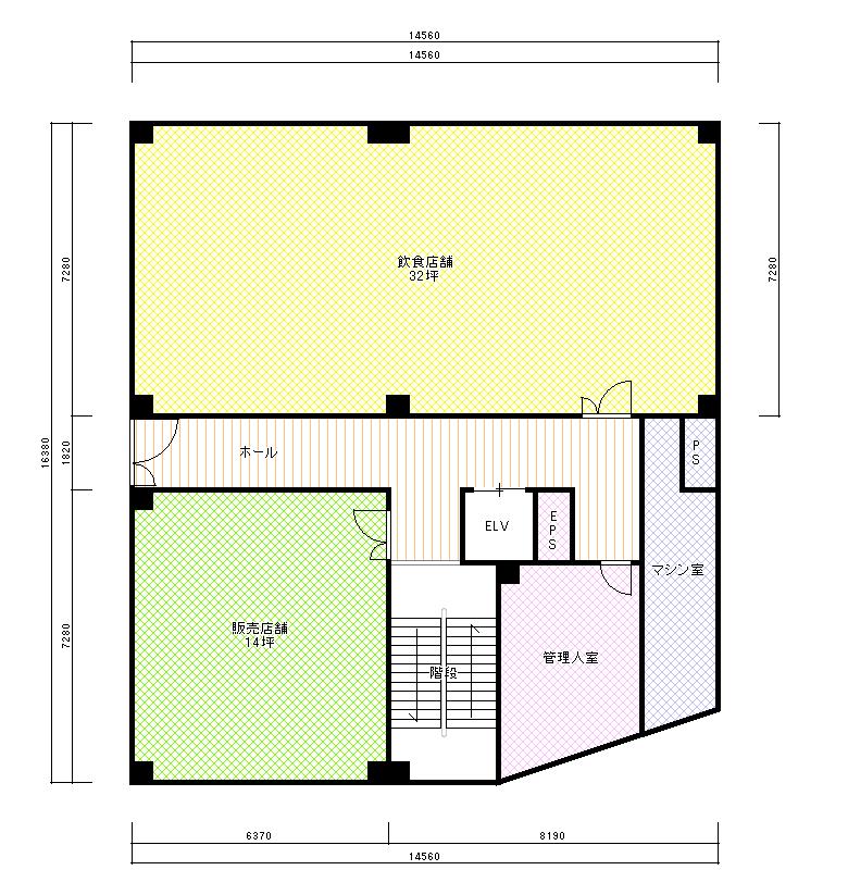 LCTビル平面図 1F  CG