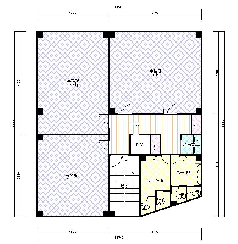 LCTビル平面図 基準階(2F〜6F)  CG