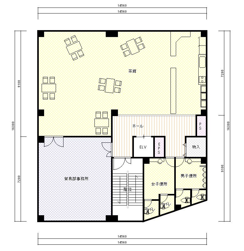 LCTビル平面図 7F(茶館)  CG