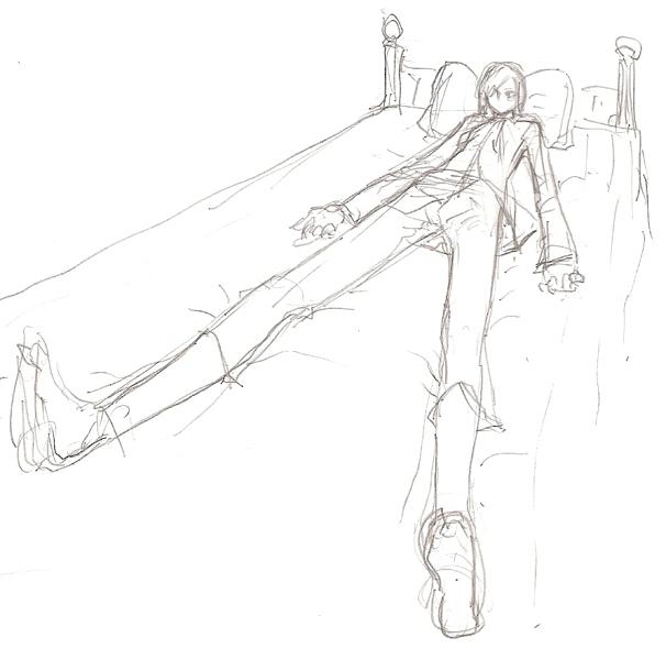 ユリウスのベッドに横たわる奈々紫ラフ  CG