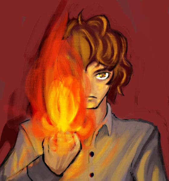 燃える手  CG