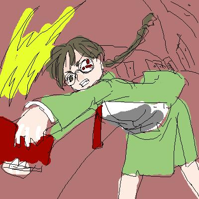 原子力マークつき眼鏡の文学少女 CG